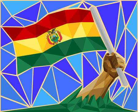 victorious: Arm Raising The National Flag Of Bolivia Illustration