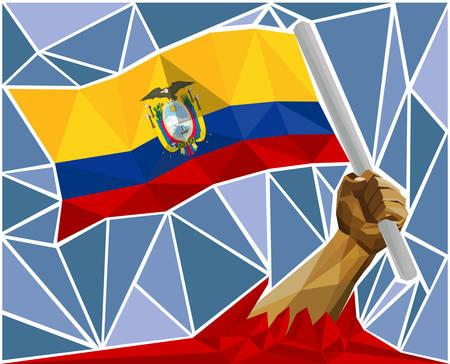 triumphant: Arm Raising The National Flag Of Ecuador Illustration
