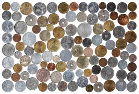 alluminum: Numismatic Collection Of Romanian Coins From Various Years On A White Background Stock Photo