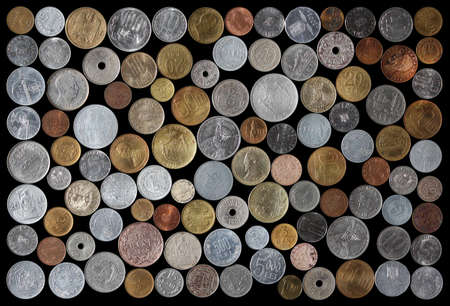 alluminum: Numismatic Collection Of Romanian Coins From Various Years On A Black Background