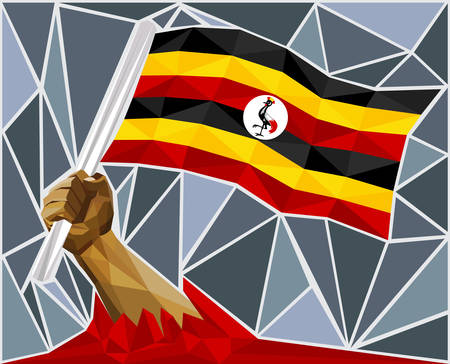 victorious: Powerful Hand Raising The Flag Of Uganda Illustration