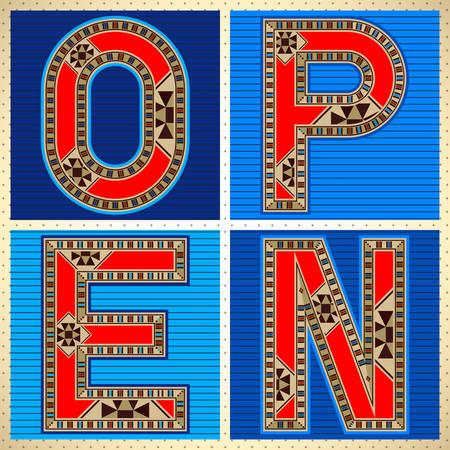 marqueteria: La muestra decorativa del bloque de la tipograf�a ABIERTO