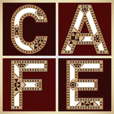marqueteria: Bloquear la tipograf�a decorativa Plaza Muestra del caf� Vectores