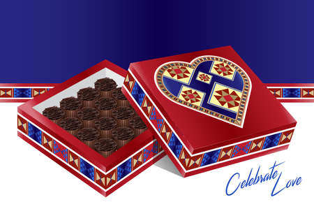 marqueteria: Celebrate Love - A Lovely Traditional Design Heart Box Filled With Chocolates Foto de archivo