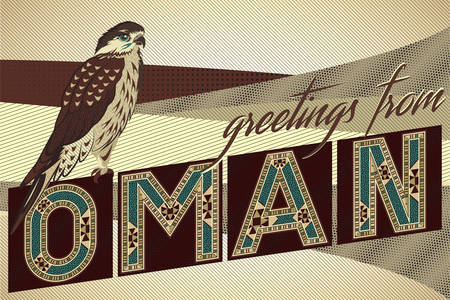 sand dunes: Greetings From OMAN Card - Block Ornamental Marquetry Style Typography With An Arabian Falcon Over A Sand Dunes Background