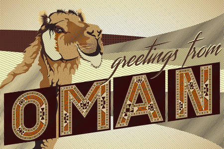 gulf: Greetings From OMAN Camel Card - Block Ornamental Marquetry Style Typography With A Camel Over A Sand Dunes Background Illustration