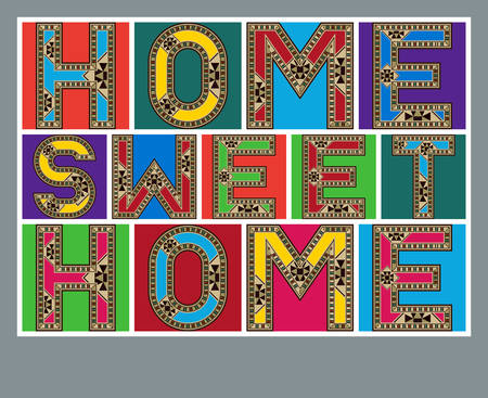 block letters: Colorful Home Sweet Home Decorative Block Letters