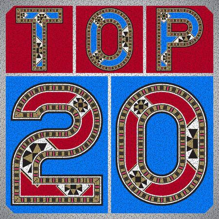 trinket: Top Twenty Ornamental Block Typography Label