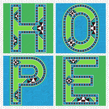 knickknack: Ornamental Block Typography HOPE Label