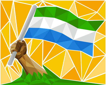 raise the white flag: Arm Raising The Republic Of Sierra Leone National Flag