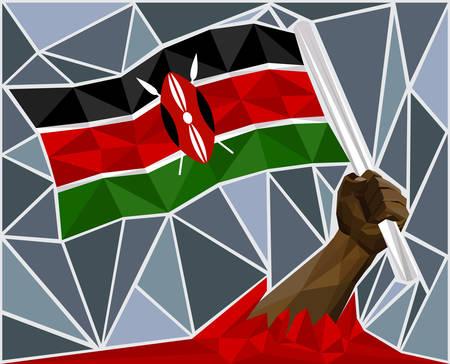 victorious: Powerful Hand Raising The Flag Of Kenya