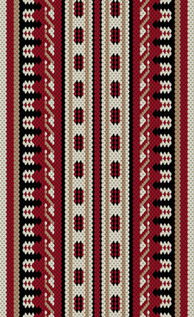 crimson: Crimson Red And Beige Arabian Sadu Rug Pattern Illustration
