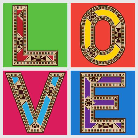 marqueteria: Estilo retro del amor de la tipografía