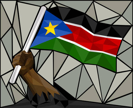 south sudan: Powerful Hand Raising The Flag Of South Sudan Illustration
