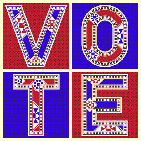 block letters: Red And Blue Decorative Block Letters Vote Icon