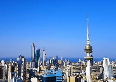쿠웨이트 시티 스카이 라인 공중 촬영