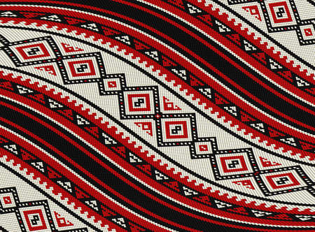 Wavy Red Sadu Traditional Bedouin Rug Pattern Background Imagens - 97801412