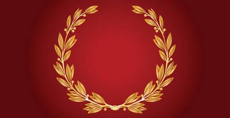 Golden Laurel Wreath Illustration On Red Velvet Banner