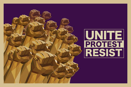 Unite Protest Resist - Power To The People - Fists Raised Up In The Air - Vintage Style Poster