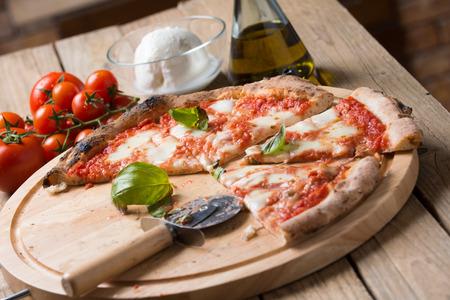 Wood oven baked italian pizza margherita
