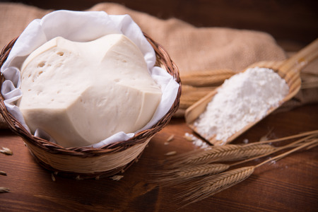 crevice: Mother Yeast, Natural Yeast on still life composition with flour and wheat Stock Photo