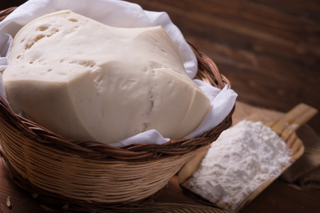 sac: Mother Yeast, Natural Yeast on still life composition with flour and wheat Stock Photo