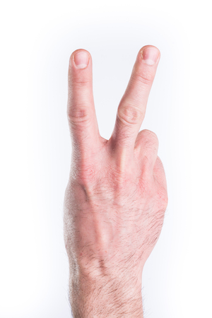 mimic: Mans hand mimic numbers on white background