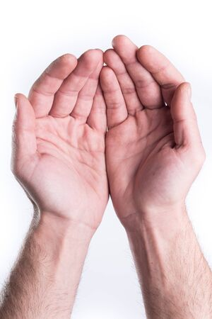 Mans hand plead charity on white background