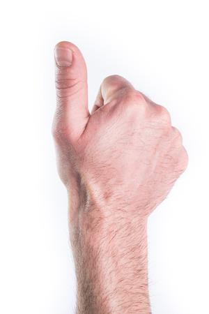 Mans hand miming thumb up like on white background Stock Photo