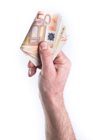 gesticulate: Hand show or give money on white background