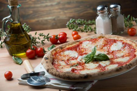 Pizza margherita on top view composition