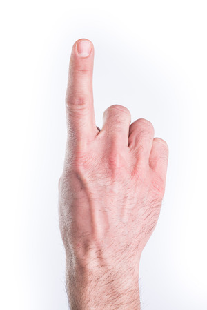 Mans hand mimic numbers on white background