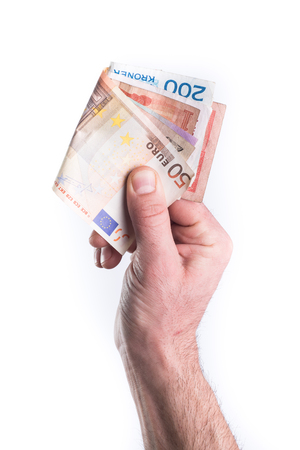 give money: Hand show or give money on white background
