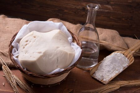 natual: Mother Yeast, Natural Yeast on still life composition with flour and wheat Stock Photo