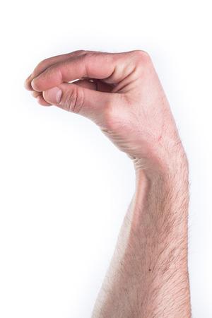 estereotipo: La mano del hombre imitando lo que la cogida en el fondo blanco