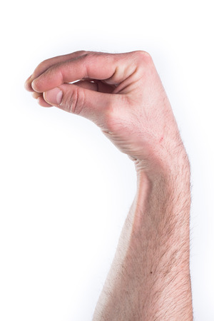 gesticulate: Mans hand miming what the fuck on white background