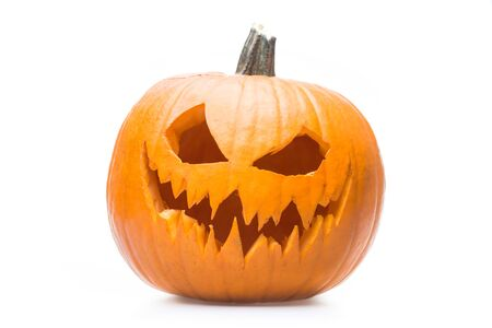 Halloween pumpkins grin on white isolated background