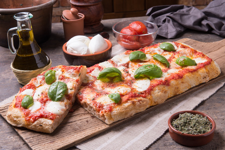 Rectangular shape and thick hand made romanas pizza