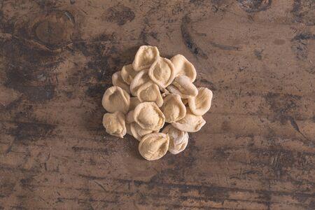 Hand made orecchiette typical fresh pasta from Puglia Banco de Imagens - 91184738