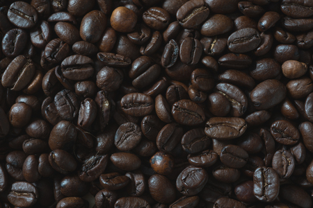 Coffee beans background on top view composition Stock Photo