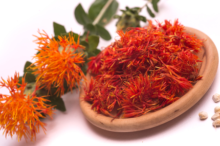 Safflower latin name Carthamus tinctorius or fake saffron on a white background Banque d'images - 104222093