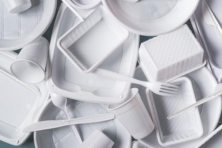 Draufsicht Zusammensetzung der weißen Kunststoffprodukte Standard-Bild