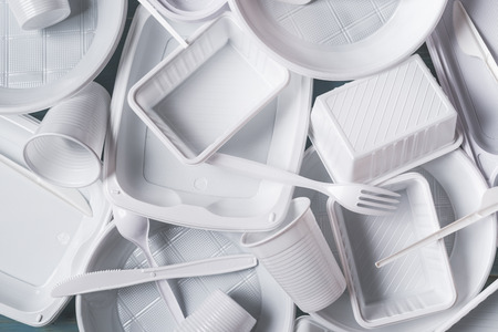 top view alimentary white plastic products composition
