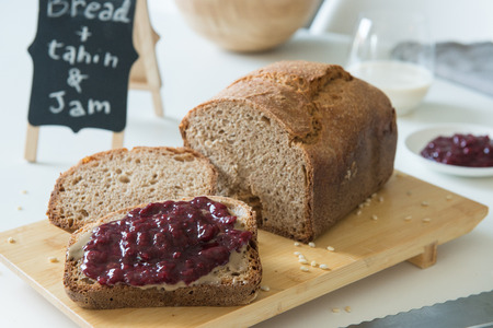 black sorghum bread on a still life breakfast composition