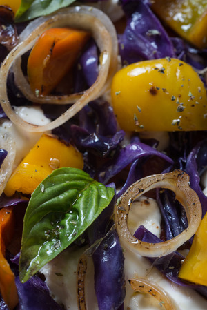 maco close-up colorful dressed garden vegetables on food composition