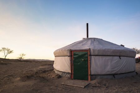 Traditional Mongolian Yurt in gobi desert region