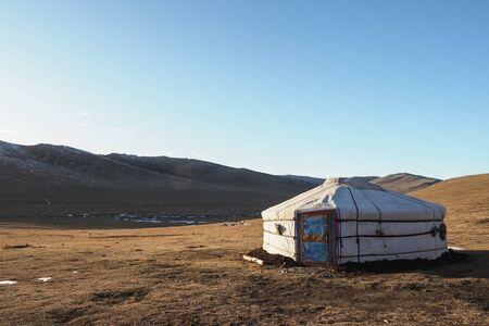 Traditional Mongolian Yurta in Olkhon region mountains landscape