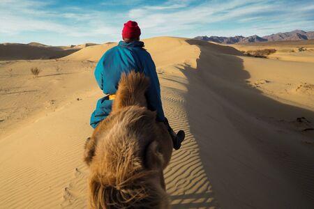 Mongolian nomad ride camel in gobi desert