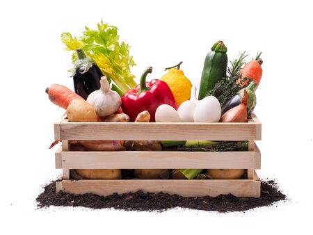 Organic vegetables in wooden rustic box and topsoil isolated on white background