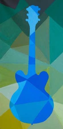 Vertical Colorful Bright Rainbow Pop Art Hand Painted Polygonal Rock Metal Jazz Music Electric Acoustic Guitar Illustration.